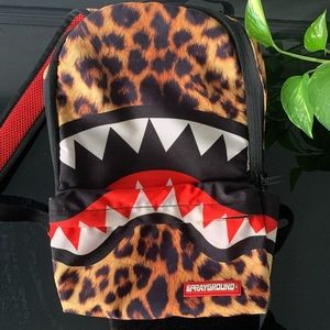 Authentic sprayground leopard print book bag